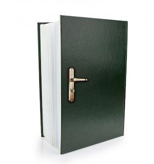 Símbolo de libro abierto y pomo de puerta para obtener conocimiento y sabiduría. imagen conceptual.