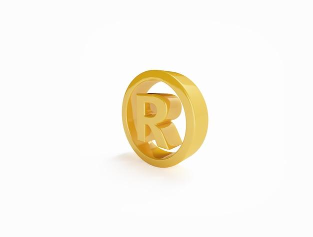 Símbolo de marca registrada en dorado sobre superficie blanca