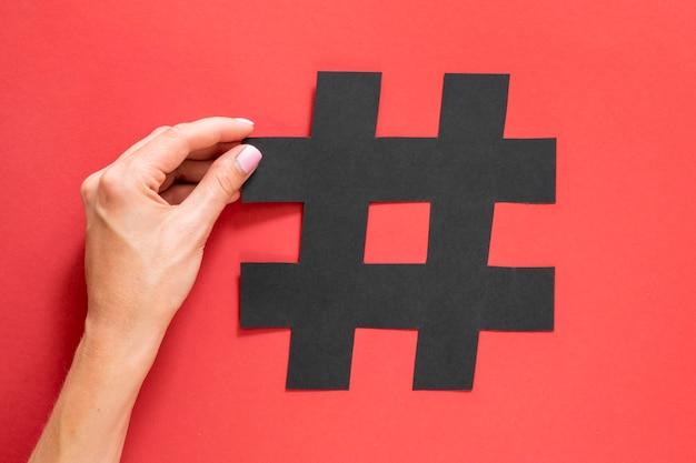 Símbolo marcado de hashtag para redes sociales