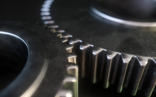 Símbolo metálico del engranaje en un fondo blanco. mecanismo de engranaje 3d.