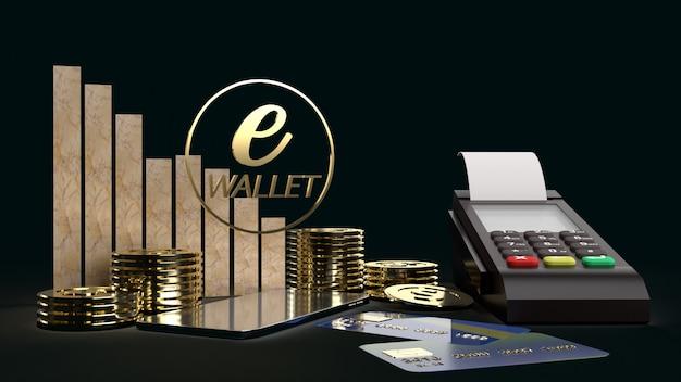 El símbolo móvil e billetera y monedas de oro 3d para el concepto de negocio.