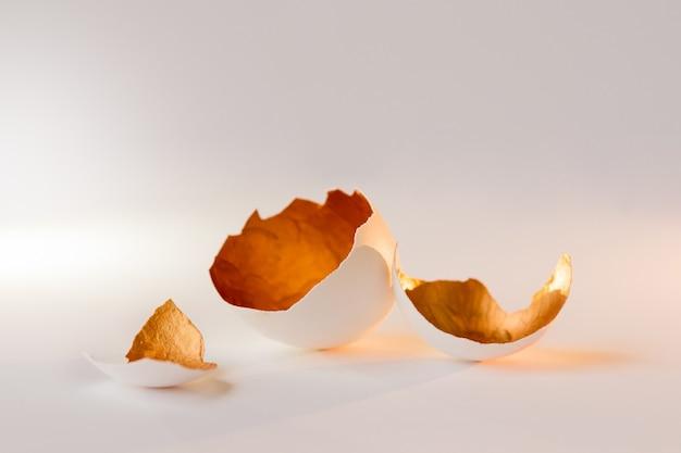 Un símbolo de nueva vida, cáscaras de huevo. decorativo, color dorado en el interior