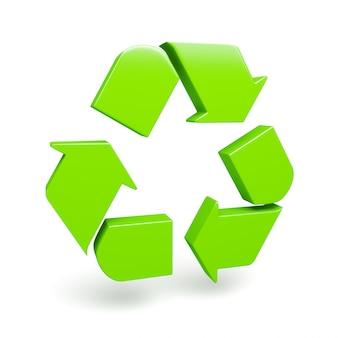Símbolo de reciclaje verde aislado en blanco