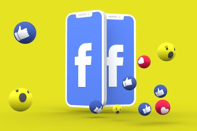 Símbolo de redes sociales en la pantalla del teléfono inteligente o las reacciones de las redes sociales y móviles aman, guau, como emoji 3d render