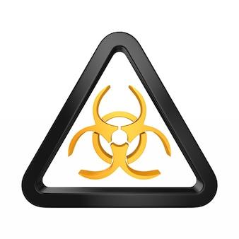 Símbolo de riesgo biológico en blanco. ilustración 3d aislada