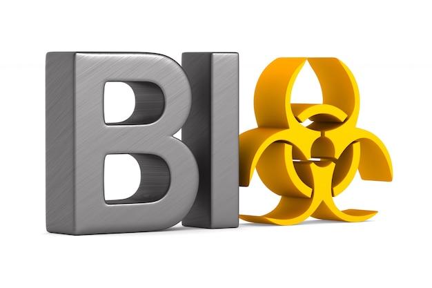 Símbolo de riesgo biológico en blanco.