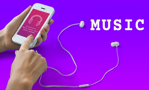 Símbolo de signo de auriculares de audio de música