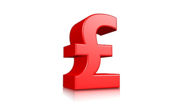 Símbolo de signo de icono de moneda libra 3d rojo aislado sobre fondo blanco 3d prestados