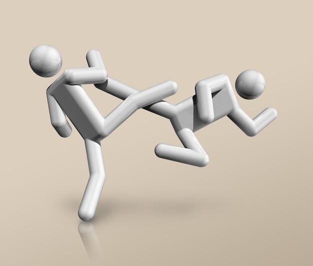 Símbolo tridimensional de taekwondo, deportes olímpicos.
