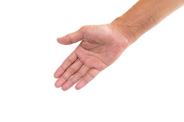 El símbolo utilizado para mostrarse mutuamente una mano amiga aislada en blanco.