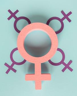 Símbolos femeninos para el día de la mujer.
