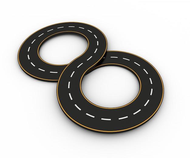 Símbolos infinitos en forma de camino con línea blanca y amarilla.