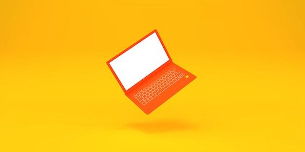 Simple volando portátil naranja en amarillo 3d render