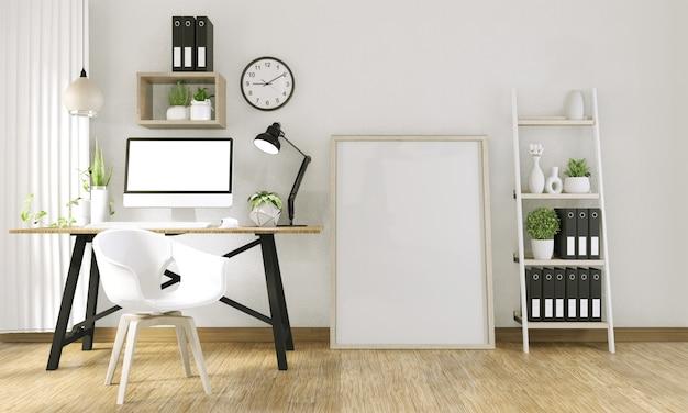 Simulacro de computadora con pantalla en blanco y decoración en sala de oficina simulacro de fondo representación 3d