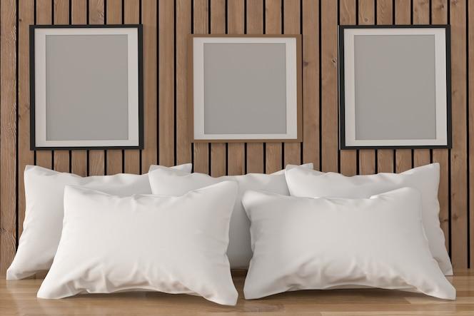 Simulacro de marco de fotos con almohadas blancas en el interior de la habitación en representación 3d