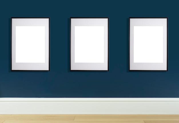 Simulacro de marco de póster en la pared interior marco blanco para póster o imagen fotográfica