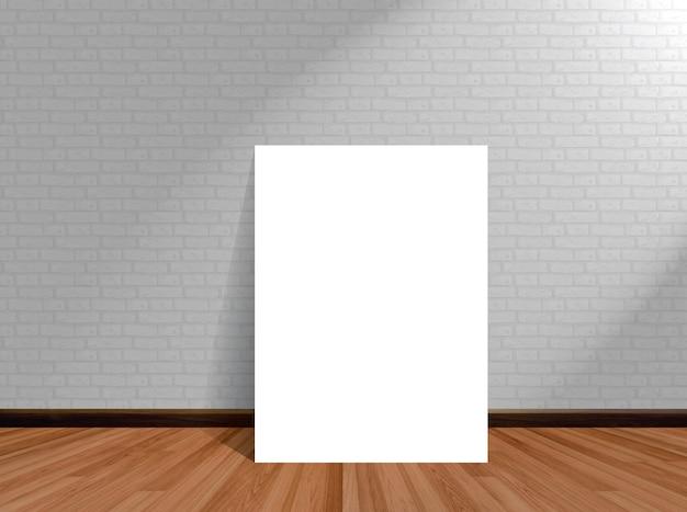 Simulacros de cartel en el fondo de la habitación vacía con pared de ladrillo de piso de madera.
