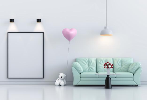 Simulacros de cartel marco interior salón y sofá, globo rosa. render 3d