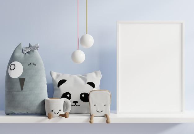 Simulacros de carteles en el interior de la habitación infantil, carteles en la pared azul vacía, representación 3d