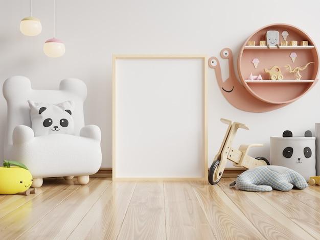 Simulacros de carteles en el interior de la habitación infantil, carteles sobre fondo de pared blanca vacía, representación 3d