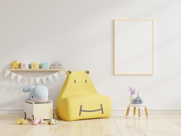 Simulacros de carteles en el interior de la habitación infantil, representación 3d