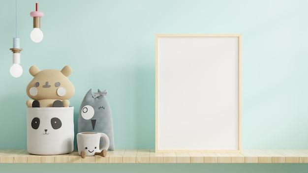 Simulacros de carteles en el interior de la habitación del niño, carteles en la pared azul clara vacía