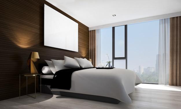 Simulacros de decoración de bastidor y muebles en el interior de dormitorio de estilo hampton de lujo 3d render