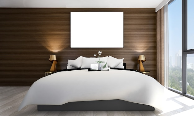 Simulacros de decoración de marco y muebles en el interior del dormitorio de estilo de lujo 3d render