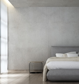 Simulacros de decoración de muebles en el interior del dormitorio de estilo loft moderno y el fondo de la pared de hormigón