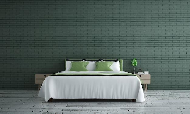 Simulacros de decoración de muebles en el interior del dormitorio de estilo loft moderno y el fondo de la pared de ladrillo