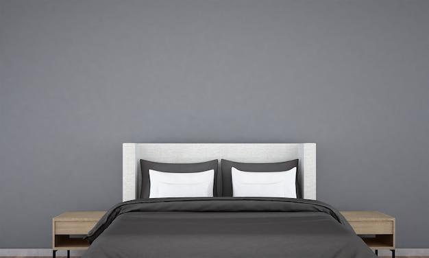 Simulacros de decoración de muebles en el interior del dormitorio de estilo de lujo 3d render