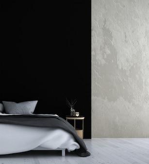 Simulacros de decoración de muebles en el interior del dormitorio de estilo tropical moderno 3d render