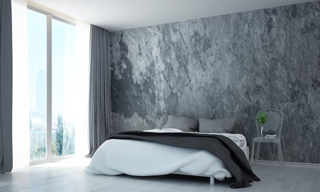 Simulacros de decoración de muebles en el interior del dormitorio moderno estilo loft render 3d