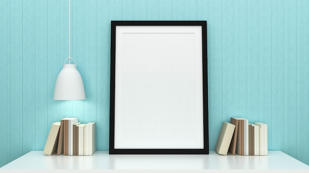 Simulacros de fotograma de póster con fondo interior, render 3d