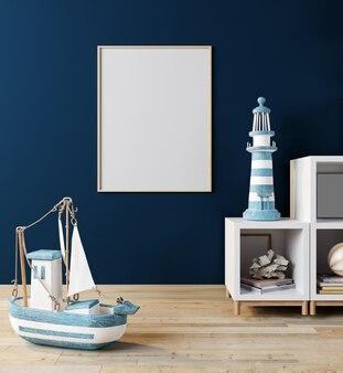 Simulacros de fotograma de póster en la habitación de los niños, fondo interior de estilo escandinavo, 3d, ilustración 3d
