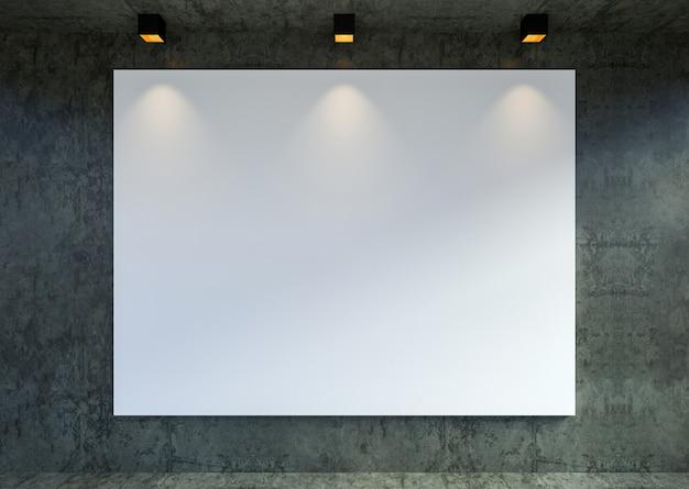 Simulacros de fotograma de póster de lienzo vacío en el fondo interior de la galería loft moderna, renderizado 3d