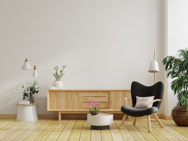 Simulacros de gabinete en sala de estar moderna con sillón oscuro y planta sobre fondo de pared blanca, representación 3d