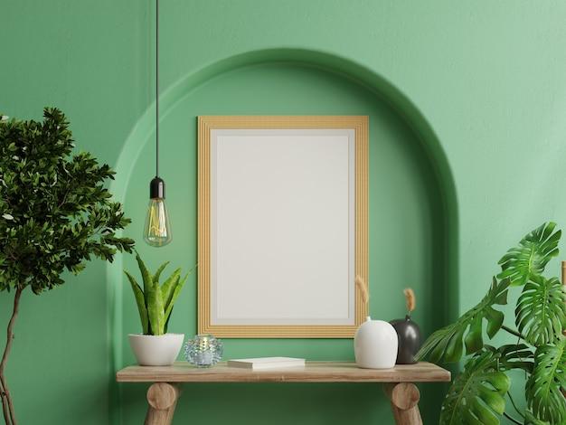 Simulacros de marco de fotos verde montado en la pared en el estante de madera con hermosas plantas, representación 3d