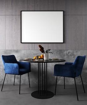 Simulacros de marco en el interior acogedor y moderno del comedor con silla azul, render 3d