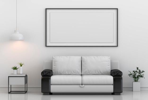 Simulacros de marco de póster en el fondo moderno interior de la sala de estar de hipster, 3d render