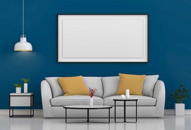 Simulacros de marco de póster en el fondo moderno interior de la sala de estar inconformista