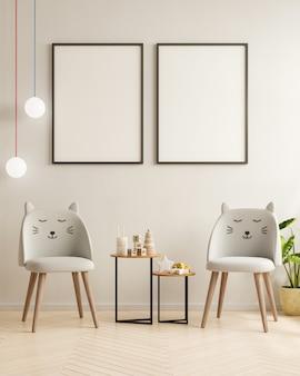 Simulacros de marco de póster en la habitación de los niños, habitación de los niños, maqueta de guardería, renderizado 3d