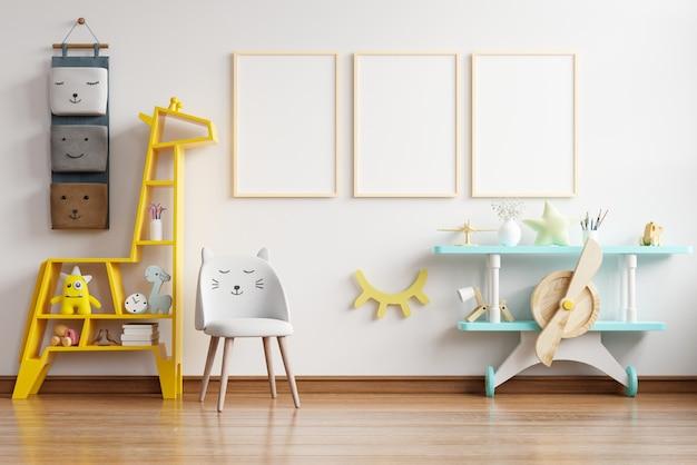 Simulacros de marco de póster en la habitación de los niños, habitación de los niños, maqueta de guardería, representación 3d
