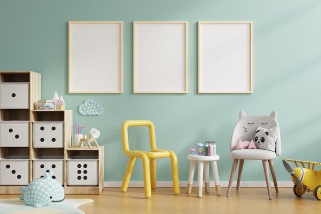 Simulacros de marco de póster en la habitación de los niños, la habitación de los niños, la maqueta de la guardería, la representación 3d
