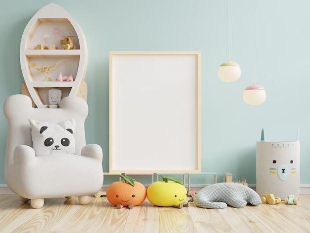 Simulacros de marco de póster en la habitación de los niños en la pared azul, representación 3d