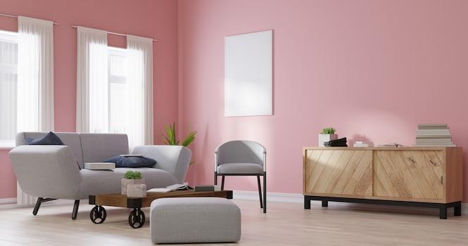 Simulacros de marco de póster en la sala de estar