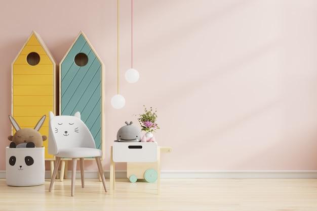 Simulacros de pared en la habitación de los niños en color rosa claro fondo de pared. representación 3d