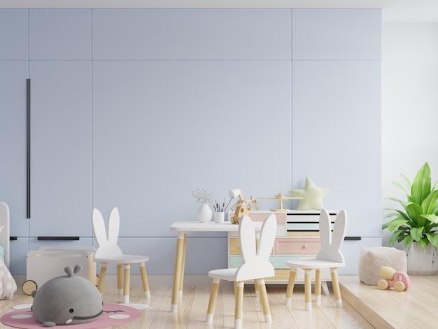 Simulacros de pared en la habitación de los niños en fondo de pared azul. representación 3d