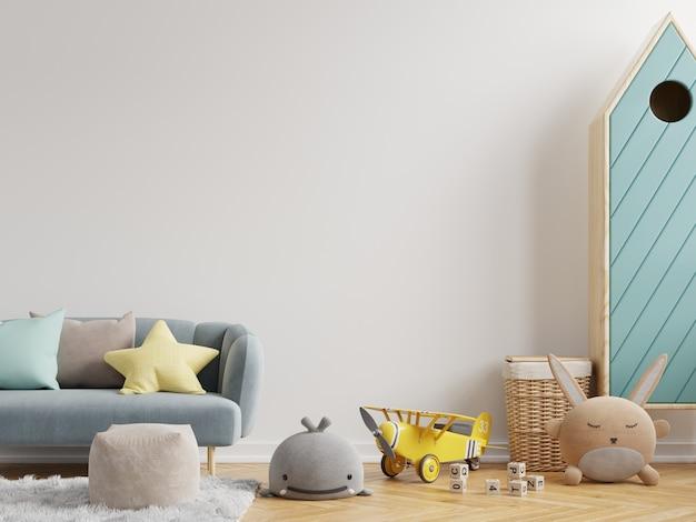Simulacros de pared en la habitación de los niños en fondo de pared blanca. representación 3d