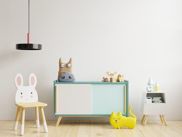 Simulacros de pared en la habitación de los niños en la pared blanca representación 3d